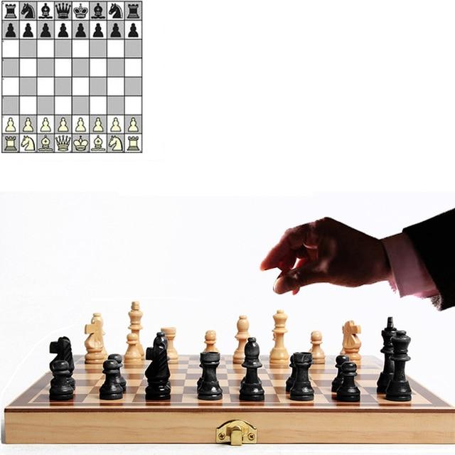 Jeu d'échecs International en bois pliable, jeu d'échecs en bois, échiquier de haute qualité  34cm x 34cm 1