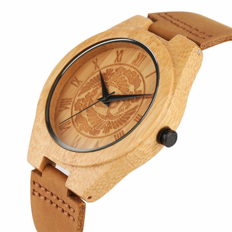 ecd4152aa ... Pine Tree Dial Bamboo Watches Men Creative Novel Genuine Leather Band  Sport Analog Wrist Watch Gift ...