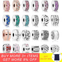 925 Sterling Silber Clip Lock-Stopper Charms Multi Stil Blume Perlen Mit CZ Fit Pandora silber 925 Original Charme Armbänder