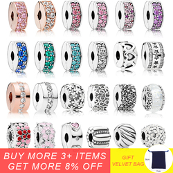 925 Sterling Silver Stopper Charms Swirl Clip Beads Polished Feathered Clip Beads With CZ Fit Pandora Original Charm Bracelets