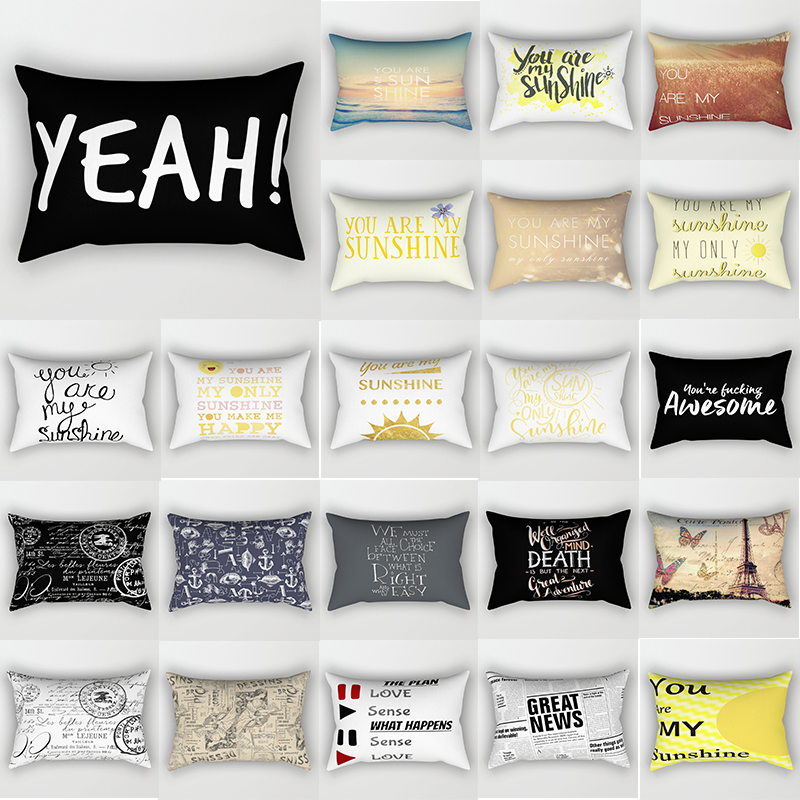 English Letters Pattern Silk Pillow Cases Rectangle Bedroom Pillow Cases Polyester Pillow Case Travel Pillow Cover 50*30cm