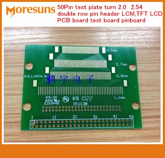 Fast Free Ship 20PCS/lot 50 Pin Test Plate Turn 2.0 2.54 Double Row Pin Header LCM,TFT LCD ENIG PCB Board Test Board Pinboard