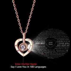 Image 5 - U7 925 Ayar Gümüş Kadın Kolye Nano Kazınmış Seni SEVIYORUM 100 Dil Özelleştirilmiş Takı anneler Günü Için hediyeler SC25