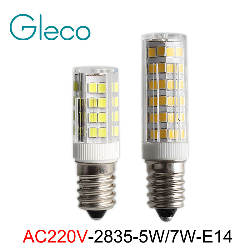 220V Mini E14 LED Bulb 2835 SMD 5W 7W 51LEDs 75LEDs Corn Lamp PC Cover LED Spot light Replace Halogen Chandelier Pendant Light