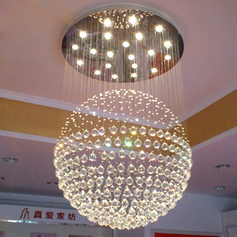 Modern Luxury Duplex Building Crystal Chandelier Round Ball Hang Lamps  Lighting Fixture For Bedroom Restaurant Livingroom Villa