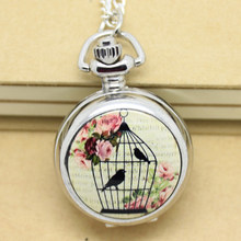 (6005-1) Silver Floral Birdcage Bird Cage Pocket Watch, 2.7cm(China)