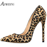 AIWEIYi Women S Stiletto High Heels Leopard Print Pump Shoes Pointed Toe Slip On High Heels