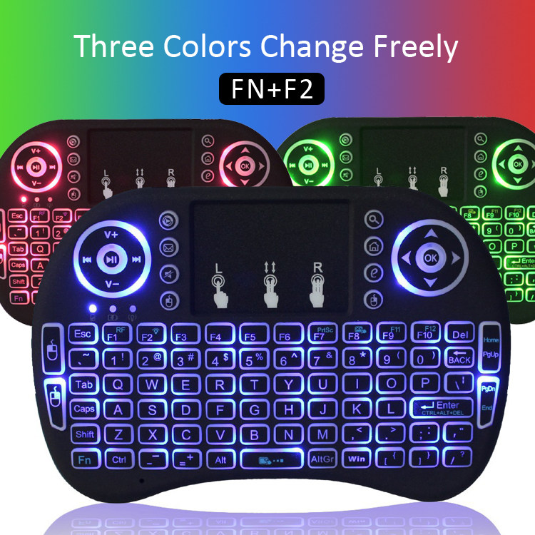 iLEPO <font><b>I8</b></font> 3 Color Backlit <font><b>Keyboard</b></font> 2.4GHz Wireless Air Mouse RU/EN Version Mini Touchpad Handheld for Android TV Smart Box PC image