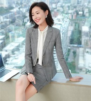 High Quality Fashion Women Skirt Suits Grey Blazer and Jacket Sets Ladies Business Suits Office Uniform Styles