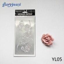 1pc Indian Henna Tattoo Stencils Rose Flower Design YL05 Beauty Women Men Body Art Hands Template Glitter Tattoo Sticker Fashion