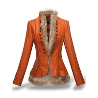 Women Faux Leather coats jacket rivet slim cool Overcoat Buckle Chic Winter Thick fur liner detachable PU suede England winter