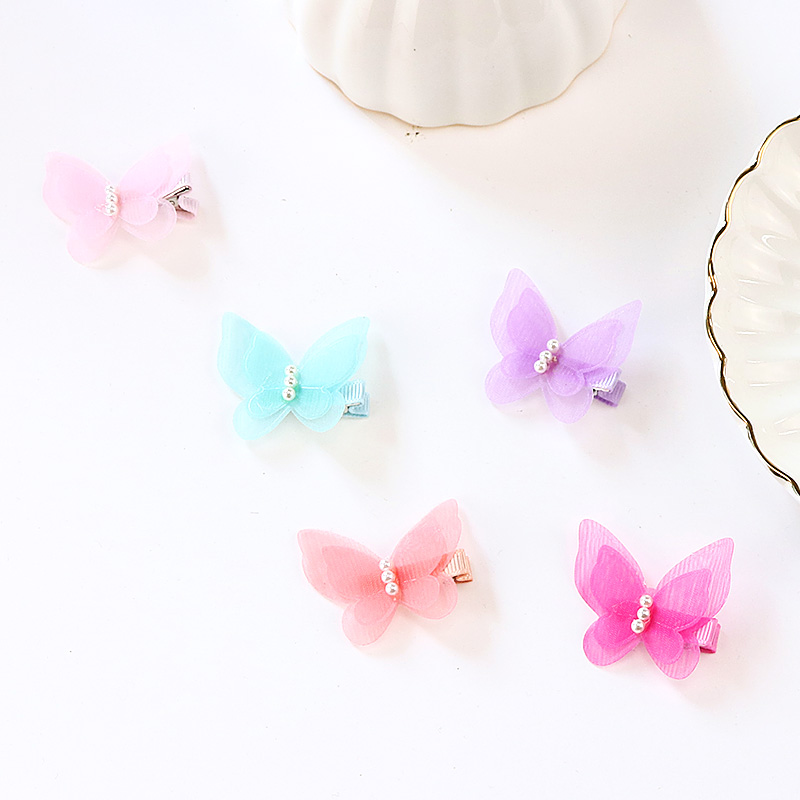 5 Pcs/lot Candy Color Bow Butterfly Hair Clips Girls' Hair Grips Kids Hairpin Headwear Fashion Accessories Pc003 #3