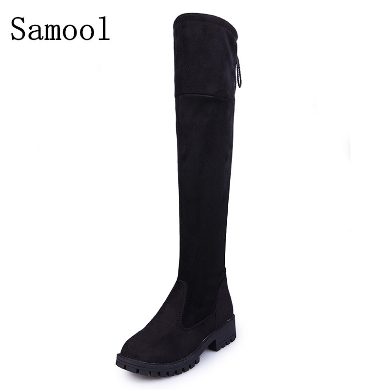 2017 Winter New Suede Slim Boots Sexy over the knee high women snow boots women's fashion winter thigh high boots shoes woman ppnu woman winter nubuck genuine leather over the knee snow boots women fashion womens suede thigh high boots ladies shoes flats