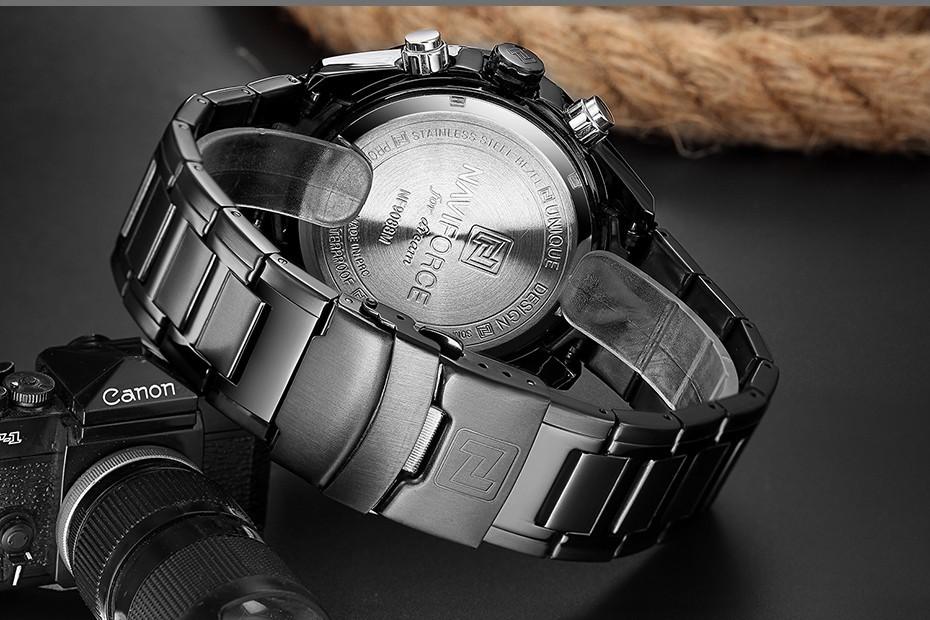 Top Luxury Brand NAVIFORCE Men Full Steel Sport Watches Men's Quartz Analog LED Clock Man Military Wrist Watch Relogio Masculino 5