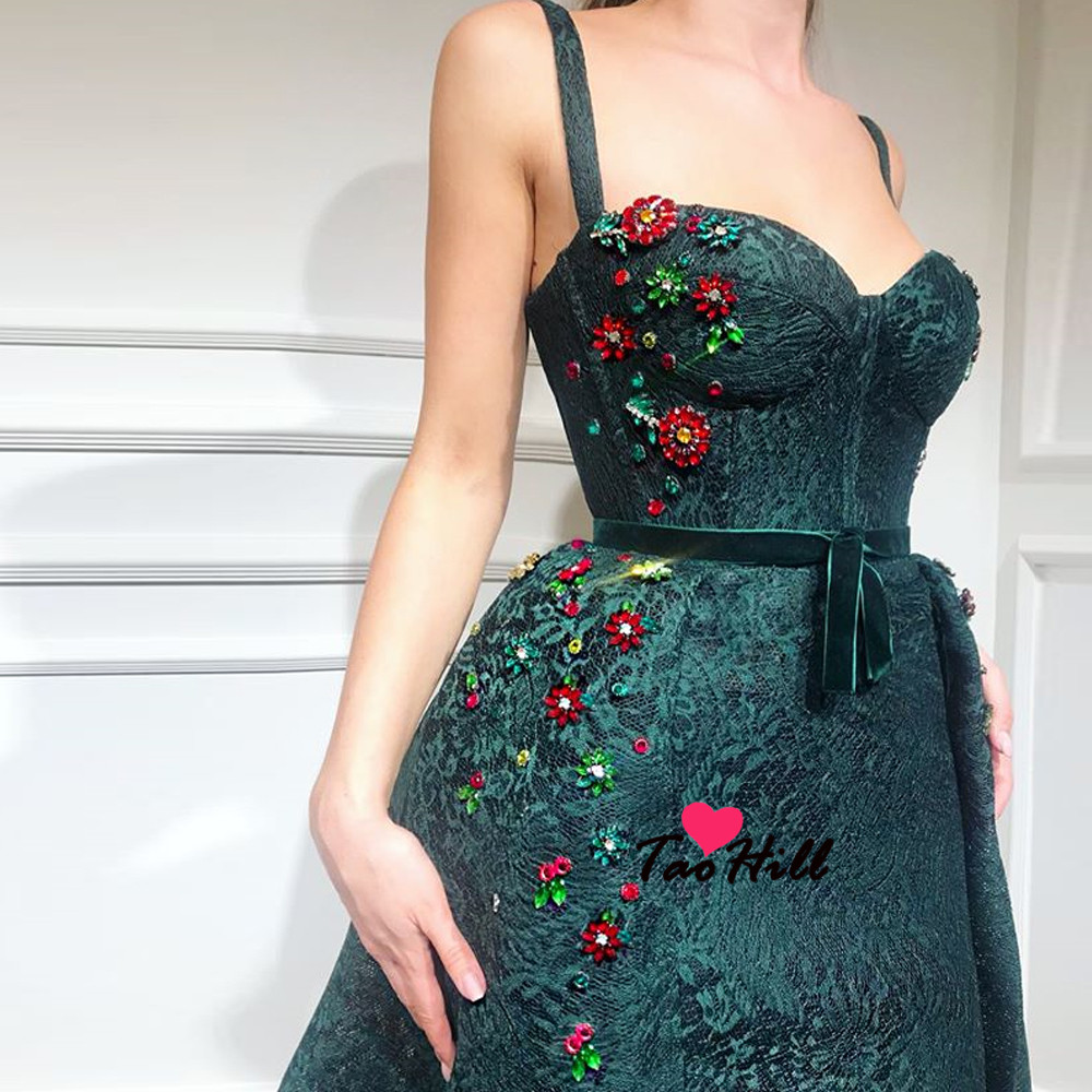 TaoHill New High-end Spaghetti Luxury Sparkle Crystals Mermaid Fashion Dresses With Train Sexy Green Formal Evening  Dresses