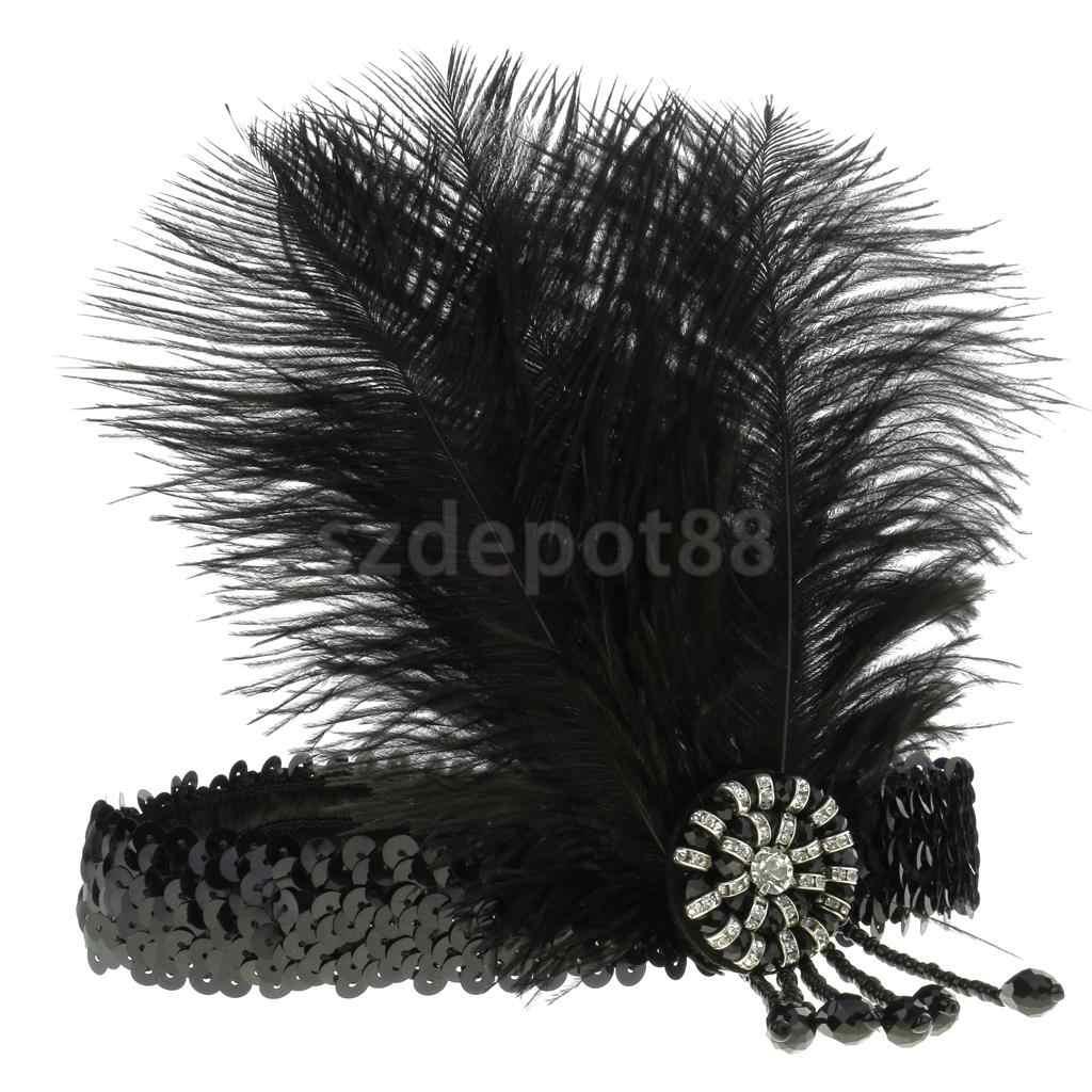 Vintage Elastic Feather Headband 20s  Rhinestone Fascinator Headwear