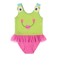 Fashional Cute The Frog Prince Age 3-10 Baby Girls Cotton Knit Cartoon Lovely Multi-use Sandy Beach Bathing or Swimming Clothing