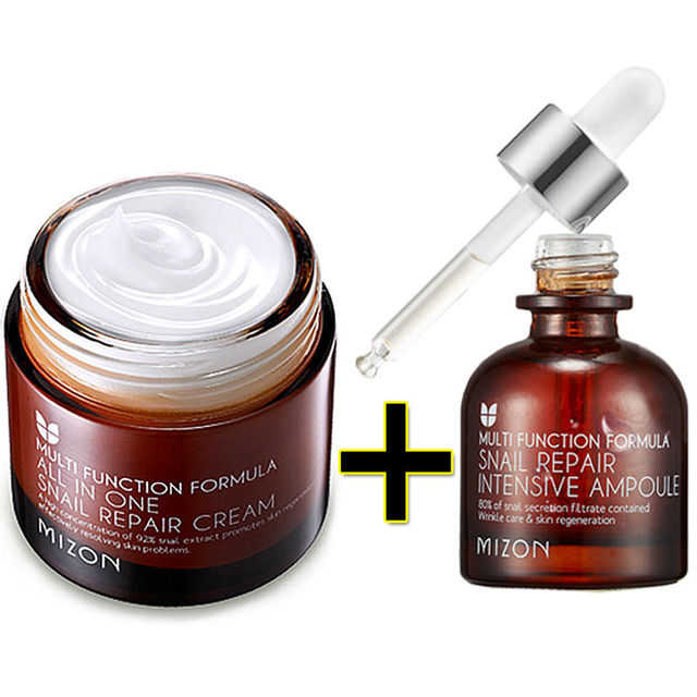 MIZON All In One Snail Repair Cream 75g + Snail Repair Intensive Ampoule 30ml Face Skin Care anti wrinkle Korean Cosmetics