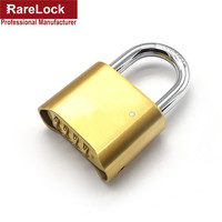 Rarelock 4 Digit Brass Combination Padlock Custom Code Key High Quality Password Lock For Door Cabinet