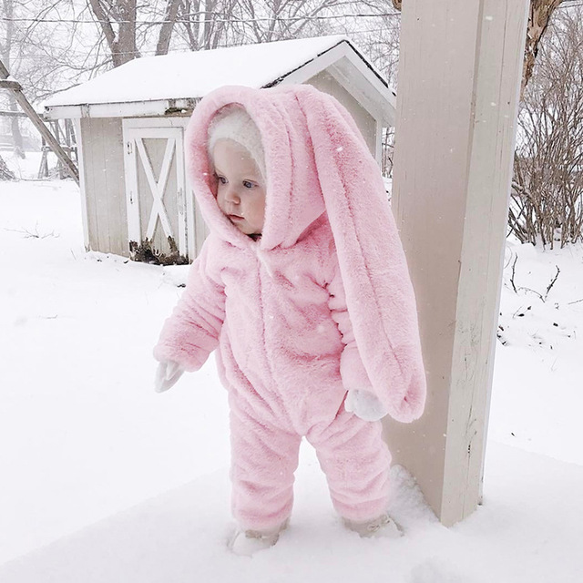 Long Rabbit Ears Baby Girl Rompers Autumn Winter Toddler -5293