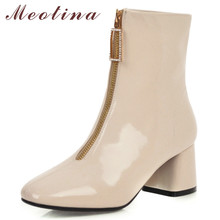 Meotina Winter Ankle Boots Women Patent Leather Thick High Heel Short Boots Crystal Zipper Square Toe Shoes Lady Fall Size 33-46 недорого