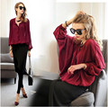 Dropshipping!2017 autumn women clothes suit  Loose long sleeve n blouse+trousers two piece set