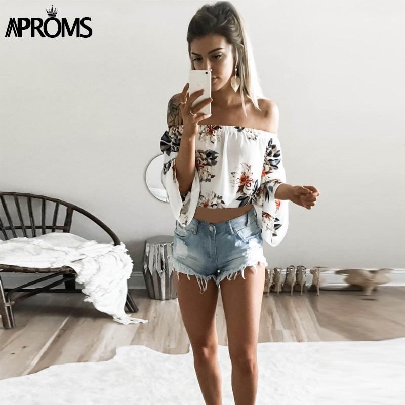 Aproms Flare Sleeve Boho Flower Print Tank Tops Elegant Off Shoulder Crop Top for Women Clothing Summer Streetwear Tees Camis