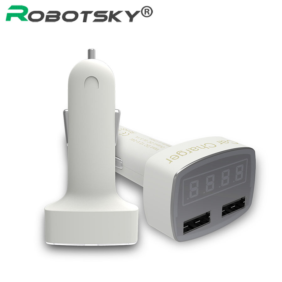 Port Charger Adapter With Digital Display: 4 In 1 Dual Port USB Car Charger Multi Function Digital