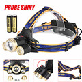 PROBE SHINY Headlamp 18650 ZOOM 15000Lm XM-L 3 x T6 LED Headlight Light Charger Battery l7110