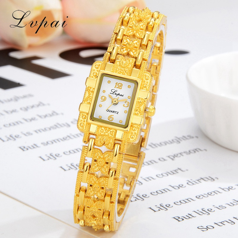 Lvpai Brand Fashion Women Watches Luxury Steel Ladies Gold Wrist Watch Dress Rectangle Dial Clock Women Sport Quartz Watch 2016 new ladies fashion watches decorative grape no word design gold watch stainless steel women casual wrist watch fd0107