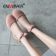 ENMAYER 2019  Mary Janes  Pumps Women Shoes  Kid Suede  Round Toe  Casual Women Solid 3 Colors Shoes Size 34-43 LY1731 enmayer 2019 basic low heel women pumps 3 colors solid women fashion mary jane shoes spring autumn size 34 43 ly1931 page 10 page 7