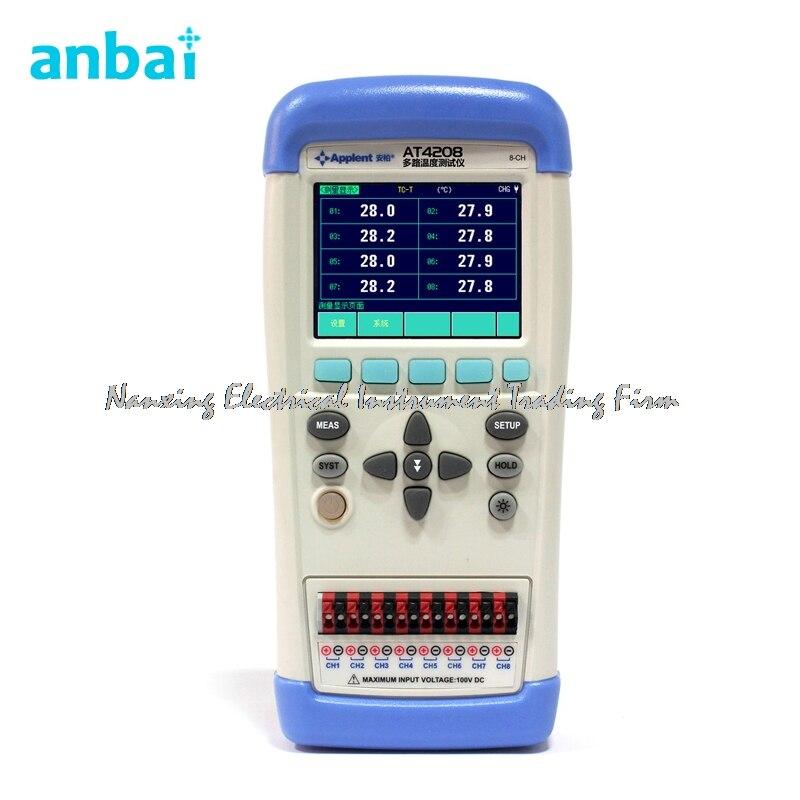 Быстрое прибытие anbai AT4208 Многоканальный термометр термопары J/K/T/E/S/N /b TFT ЖК дисплей Экран USB Ручной Температура метр