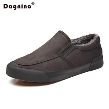 DAGNINO Men's Vulcanized Shoes Winter Men Warm Snow Boots Mans Casual With Short Plush Ankle Boots Slip-on Men Lazy Shoes Black