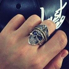 ZABRA 925 Silber Kühlen Soldat Schädel Ring Für Männer Punk Rock Vintage Ringe Mit Adler Einstellbare Größe Biker Ring Gothic schmuck