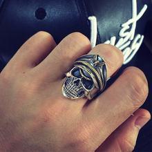 Zabra 925 Серебряное крутое кольцо с черепом солдата для мужчин