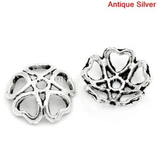 Doreen Box Lovely Bead Caps Flower Antique Silver(Fits 12mm-14mm Beads) Hollow 10x10mm, Hole:approx 1mm, 100PCs (B25875)