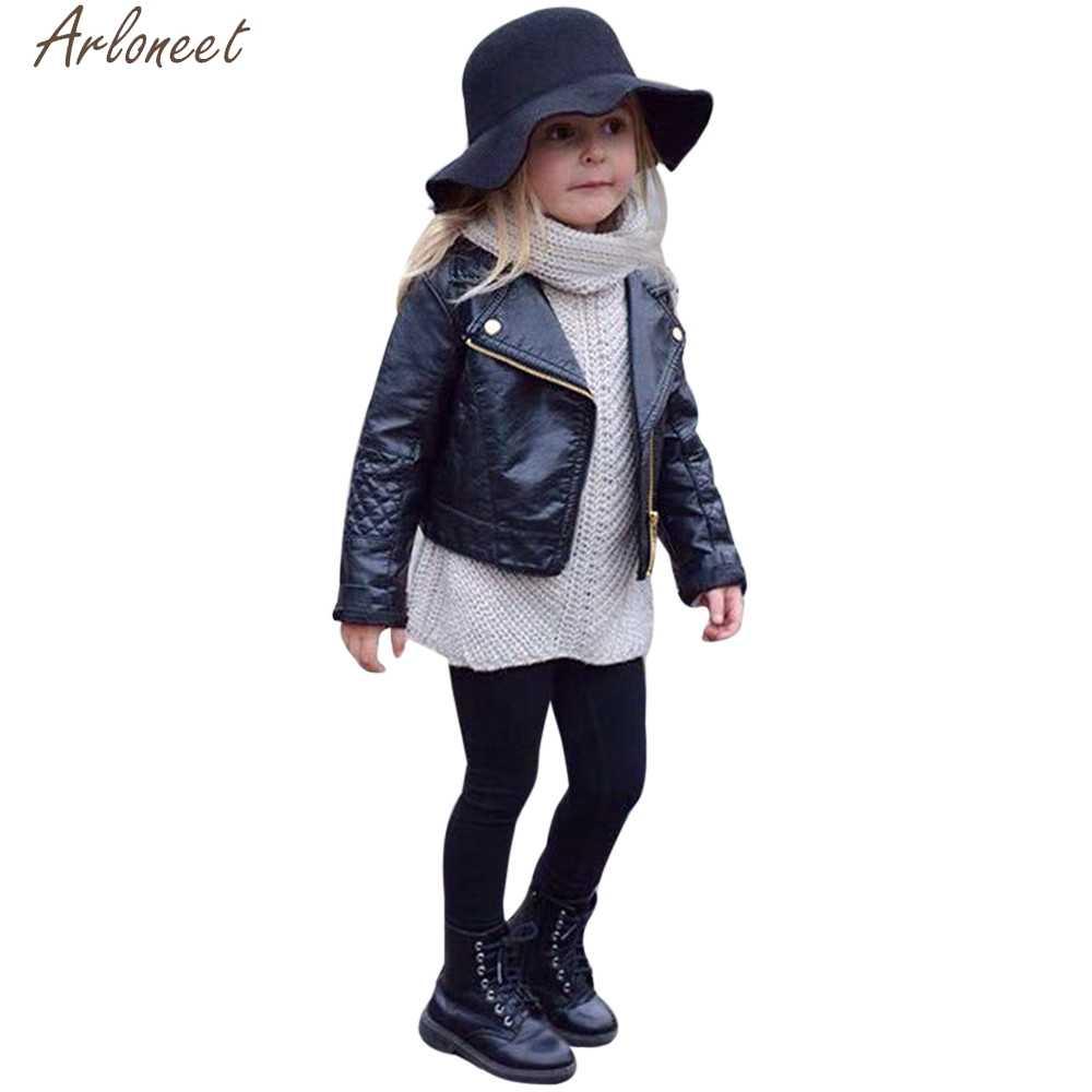 Chaqueta ARLONEET para niñas y niños, chaqueta de cuero sintético sólido para niños, chaqueta de invierno para niñas, abrigo de 5 años para niñas