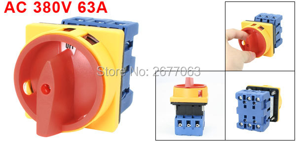 On-Off 2 Postions 6 Screw Terminals Control Rotary Cam Switch AC 380V 63A