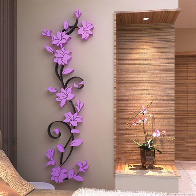 Wall Sticker Rose Flower Mural Sticker Removable Flower DIY Home Room  Decors Wandtattoo Rosen Vinilos Decorativos