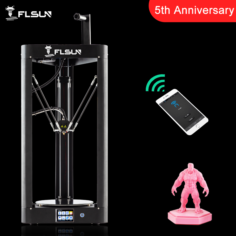 2019 NOVA Impressora 3D Flsun QQ-S Kossel Sensor de Nível de Auto Treliça HeatBed de Pré-montagem Titan Toque Wifi 32 bits boad Alta velocidade