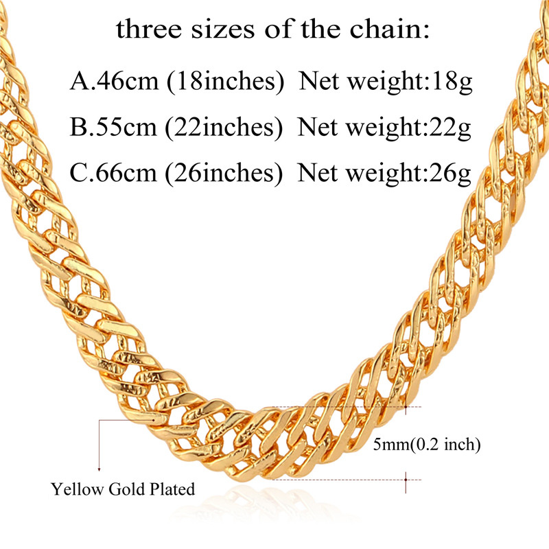 U7 Male Chain Necklace Trendy Jewelry Wholesale 5MM GoldSilver