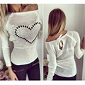 2017 Spring Autumn Sexy Bow-knot Knitted Sweater Pullovers Casual O Neck Long Sleeve Heart Pattern Knitwear Jumper Femme Tops