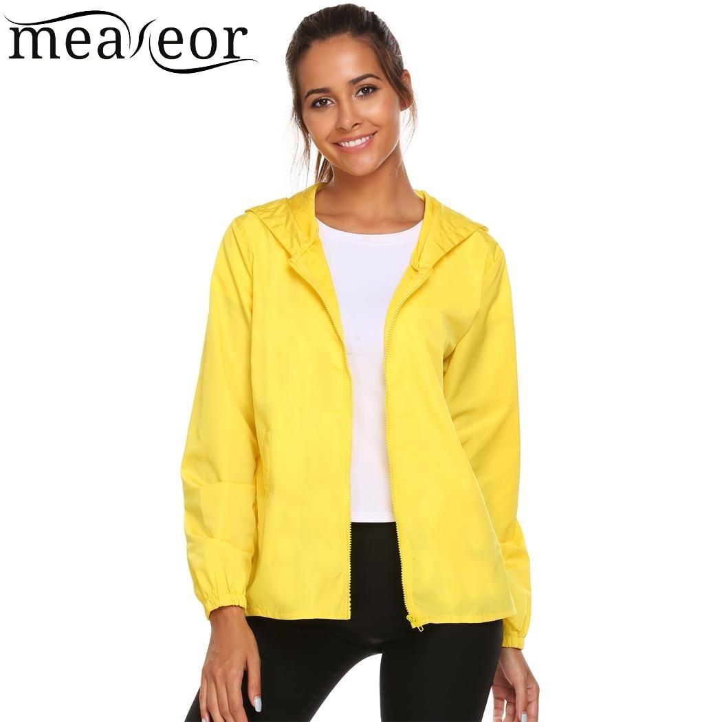 a98c089f277dd Meaneor 2018 Women Fashion Coat Hoodie Windbreaker Autumn Winter Jacket  Lightweight Casual Rainwear Activecolete feminino-in Basic Jackets from  Women s ...