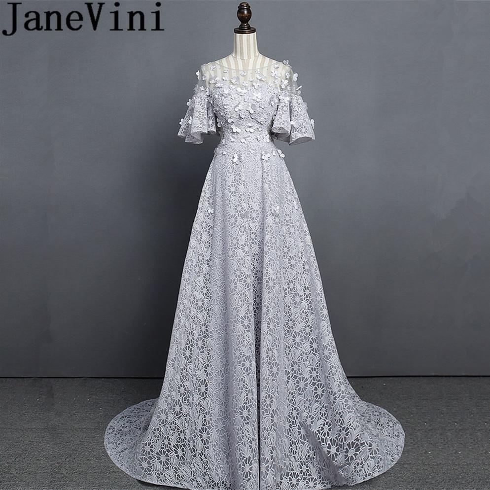 JaneVini Elegant Light Gray Long   Bridesmaid     Dresses   A Line Sheer Scoop Neck Beads 3D Flower Sweep Train Vestidos Longos De Festa