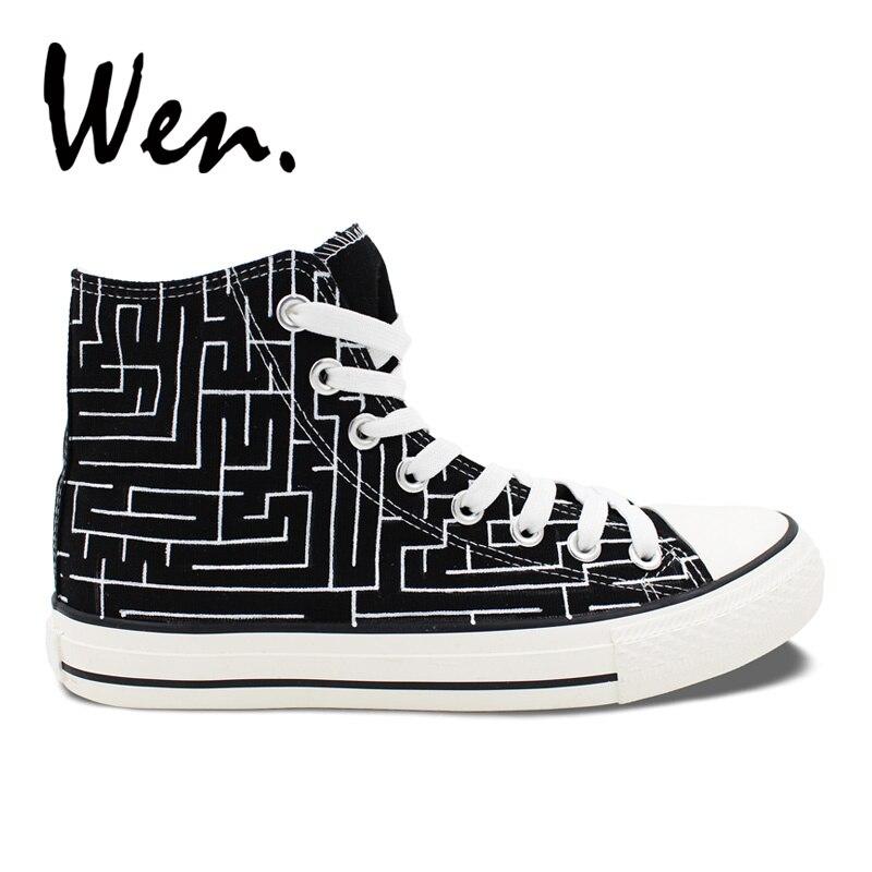 Angemessen Wen Original Design Labyrinth Labyrinth Stil Custom Schuhe Handgemalte High Top Leinwand Schwarz Turnschuhe Geschenke Für Frauen Männer Fest In Der Struktur