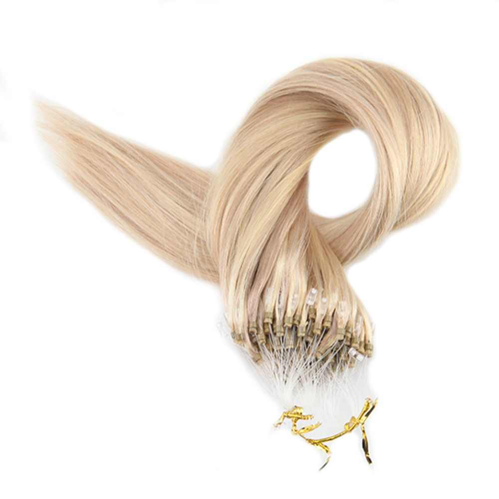 Полный блеск микро петля кольцо для наращивания волос фортепиано цвет 18 и 613 белый блонд выделенный remy волосы предварительно скрепленные микро петля волос
