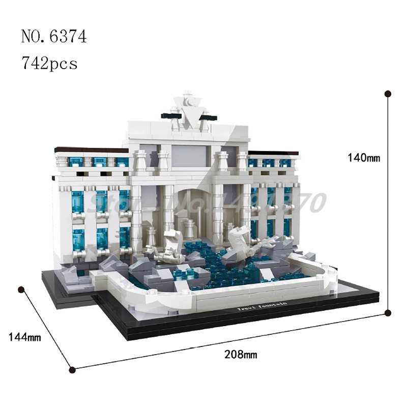 World Famous Cultural Architecture Building Blocks Trevi Fountain Rome Mini City Bricks Educational Toys For Children Gifts леска sufix sfx цвет прозрачный 0 12 мм 100 м 1 2 кг