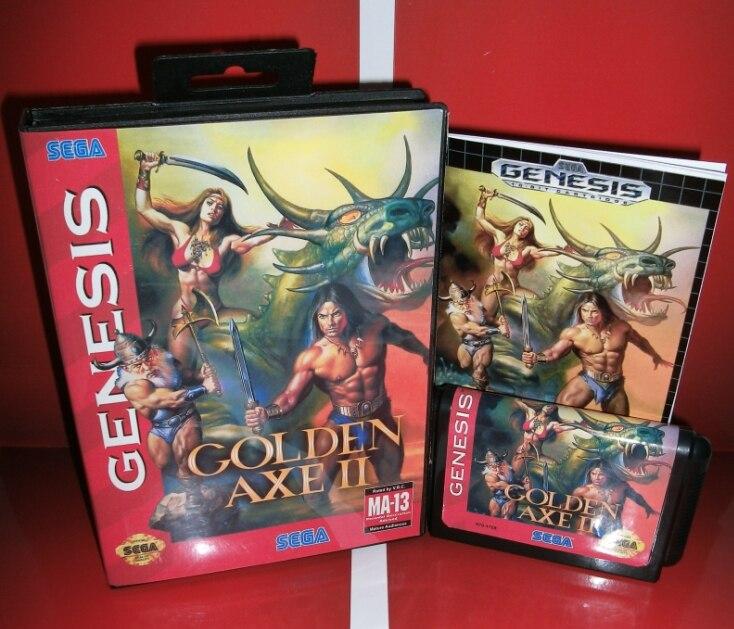 Juegos de Sega tarjeta de GoldenAxe II con Caja y Manual para Sega MegaDrive Con