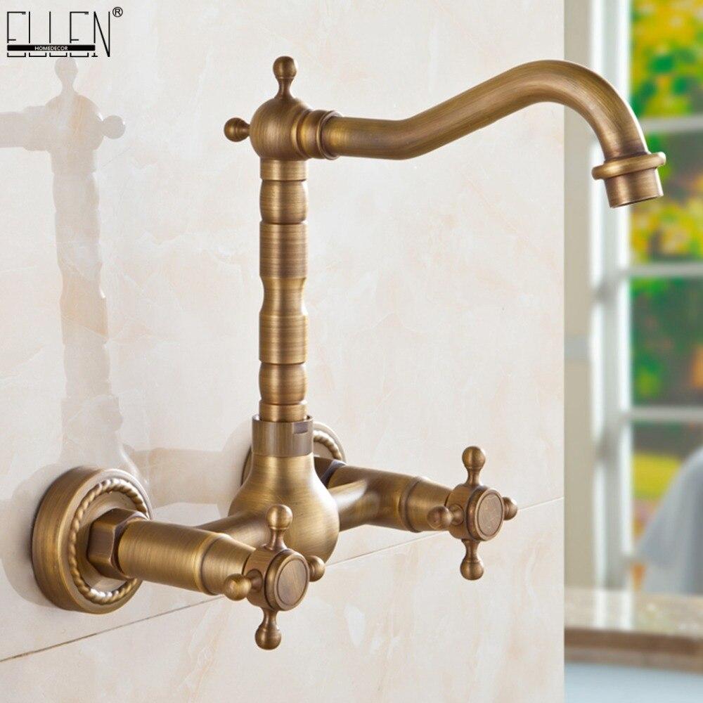 Robinet d'évier de cuisine mural double poignée laiton Antique Bronze robinets de cuisine pivotant chaud et froid EL1310
