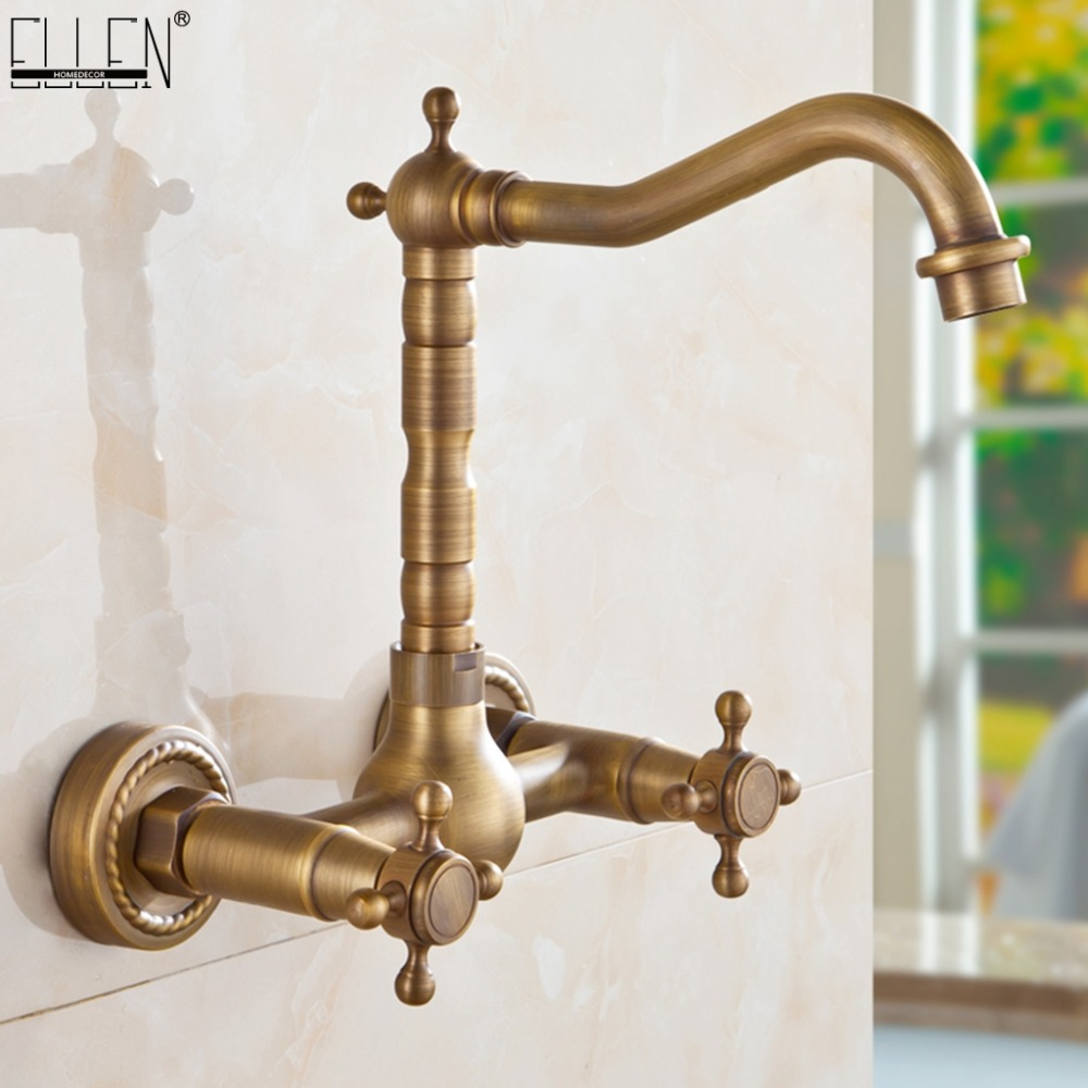 Wall Mounted Kitchen Sink Faucet Dual Handle Antique Brass Bronze Hot and Cold Swivel Kitchen Faucets  EL1310-in Basin Faucets from Home Improvement    1